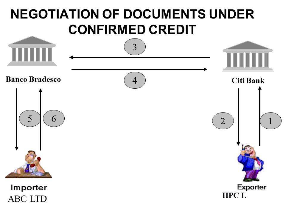 NEGOTIATION OF DOCUMENTS UNDER CONFIRMED CREDIT Banco Bradesco Citi Bank 1 3 4 56 2 ABC LTD HPC L
