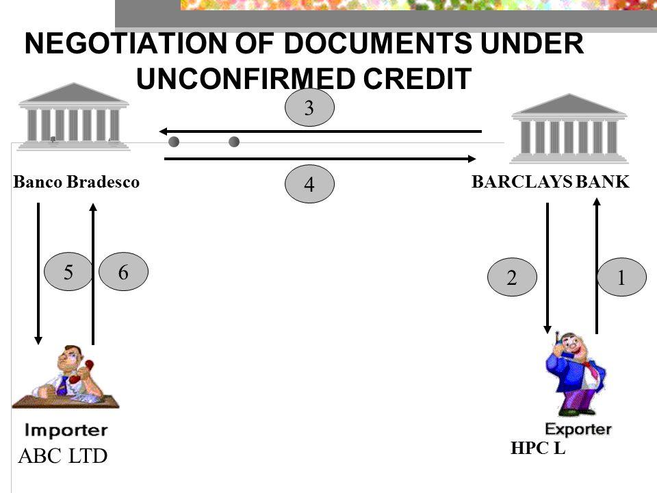 NEGOTIATION OF DOCUMENTS UNDER UNCONFIRMED CREDIT Banco BradescoBARCLAYS BANK 1 3 4 56 2 ABC LTD HPC L