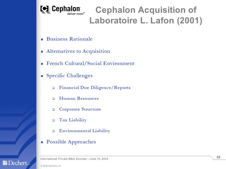 International Private M&A Seminar—June 16, 2004 58 Cephalon Acquisition of Laboratoire L.