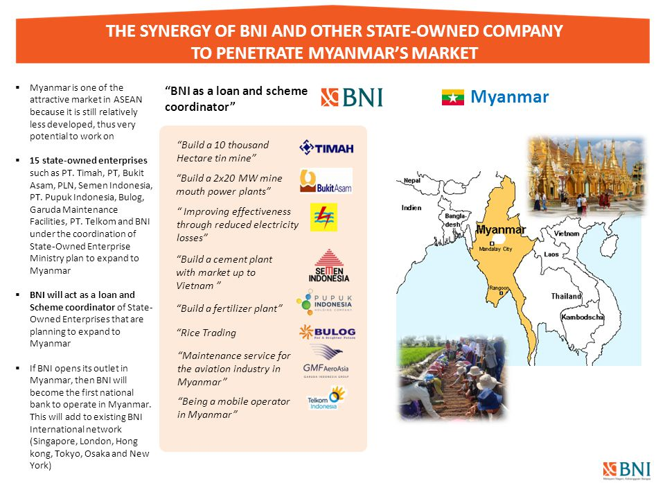 """Page 16 THE SYNERGY OF BNI AND OTHER STATE-OWNED COMPANY TO PENETRATE MYANMAR'S MARKET Myanmar """"BNI as a loan and scheme coordinator"""" """" Improving effe"""