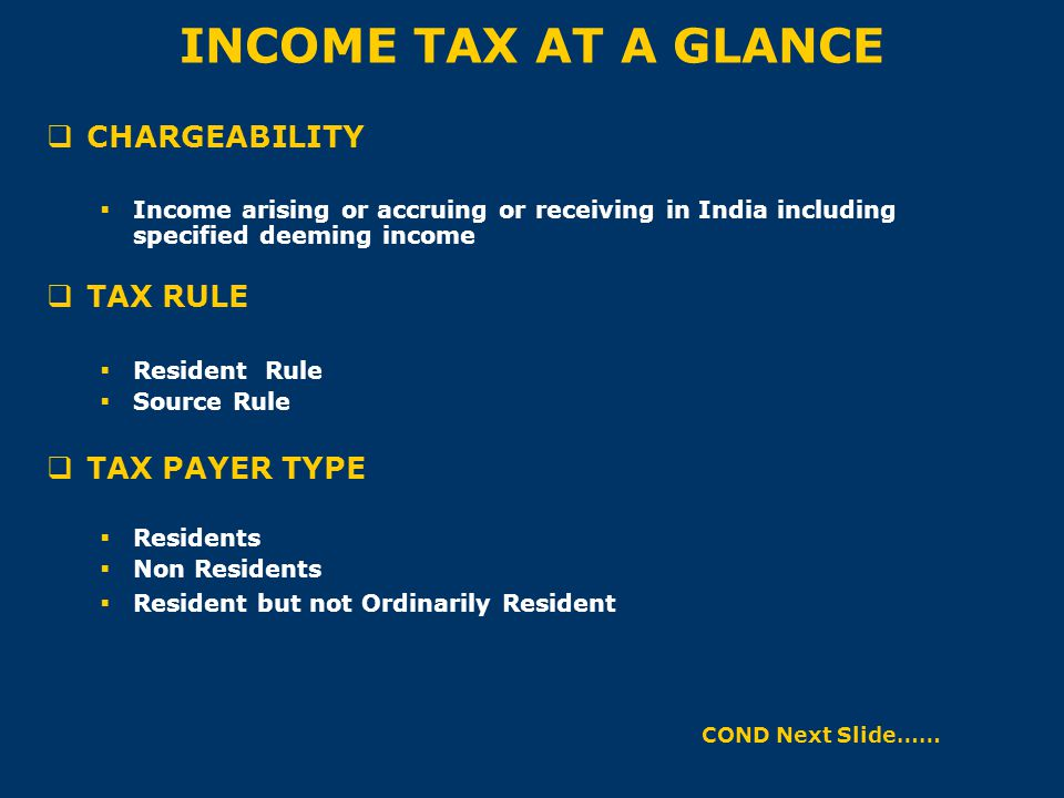 INCOME TAX AT A GLANCE  CHARGEABILITY  Income arising or accruing or receiving in India including specified deeming income  TAX RULE  Resident Rul