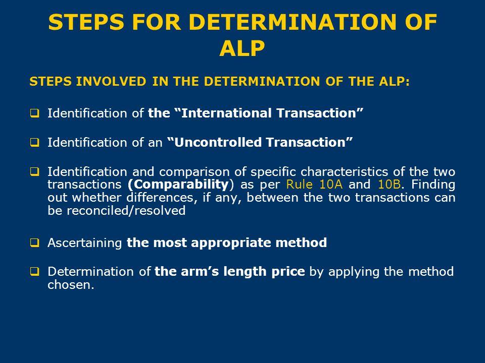 "STEPS FOR DETERMINATION OF ALP STEPS INVOLVED IN THE DETERMINATION OF THE ALP:  Identification of the ""International Transaction""  Identification of"