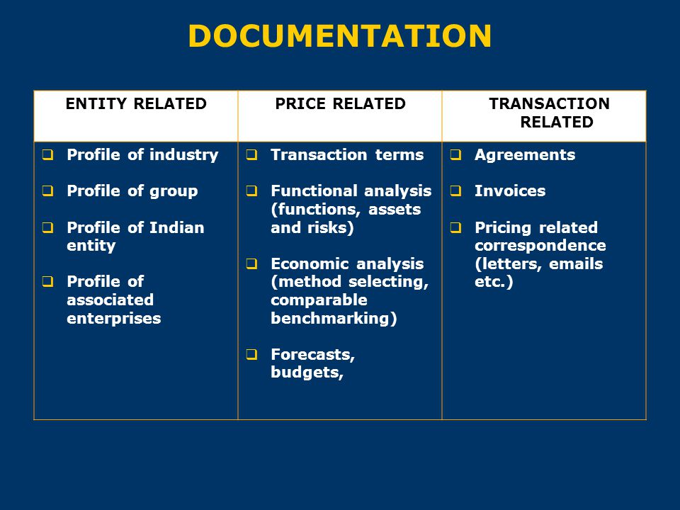 DOCUMENTATION ENTITY RELATEDPRICE RELATED TRANSACTION RELATED  Profile of industry  Profile of group  Profile of Indian entity  Profile of associa