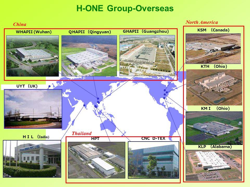 UYT ( UK) KSM ( Canada) KTH ( Ohio) HPT GHAPII ( Guangzhou) KLP ( Alabama) CNC D-TEX Q HAPII ( Qingyuan) WHAPII (Wuhan) KM I ( Ohio) HIL ( India) China North America Thailand H-ONE Group-Overseas