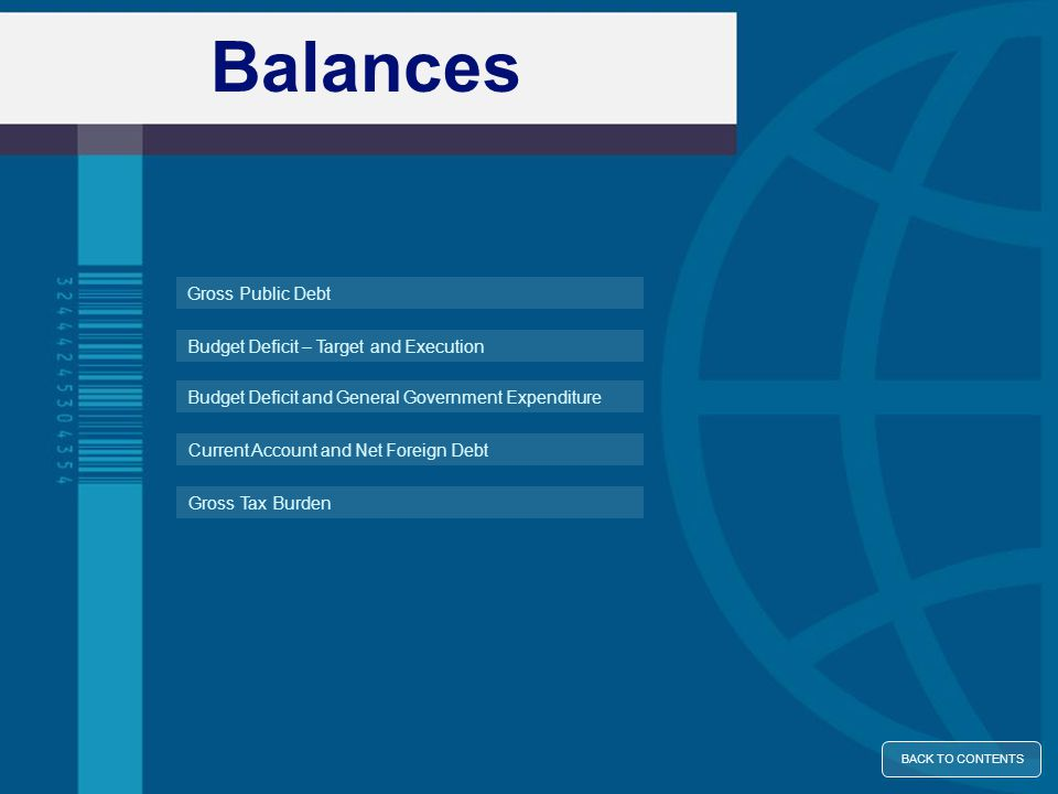 Balances Budget Deficit – Target and Execution Gross Public Debt BACK TO CONTENTS Budget Deficit and General Government Expenditure Gross Tax Burden C