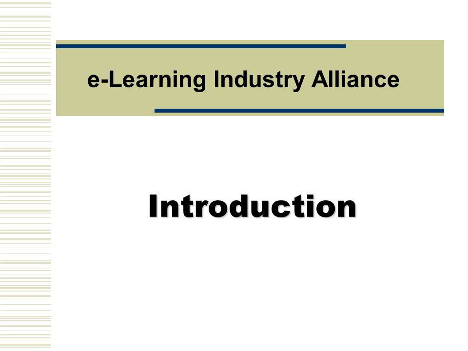 Introduction e-Learning Industry Alliance