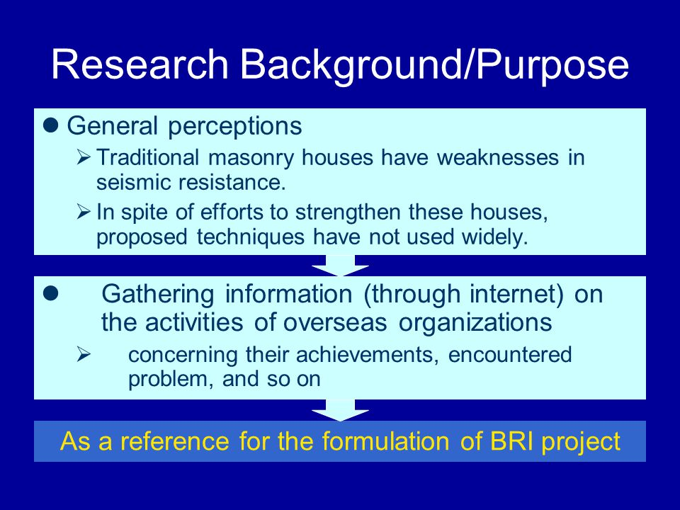 Research Background/Purpose General perceptions  Traditional masonry houses have weaknesses in seismic resistance.