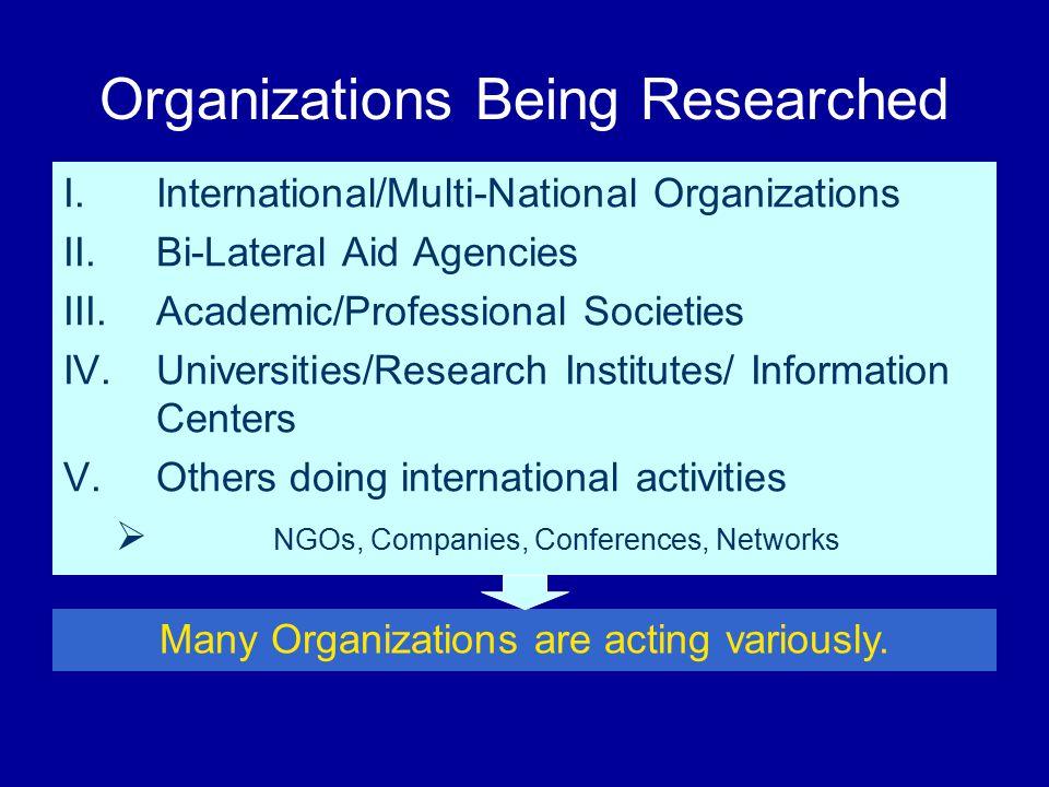 Organizations Being Researched I.International/Multi-National Organizations II.Bi-Lateral Aid Agencies III.Academic/Professional Societies IV.Universi