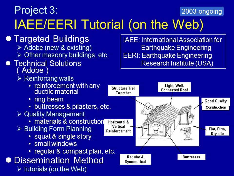 Project 4: World Bank/METU Project Targeted Buildings –Masonry (existing) Technical Solutions  Reinforcing walls scrap-tires Dissemination Methods  posters  pamphlets/booklets  website  trainings/workshops 2004 METU: Middle East Technical University (Turkey)