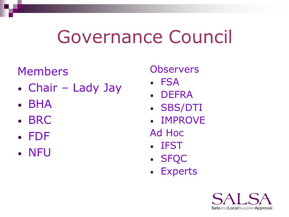 Governance Contractual Joint Venture between BHA, BRC, FDF and NFU Governance Council chaired by Lady Sylvia Jay