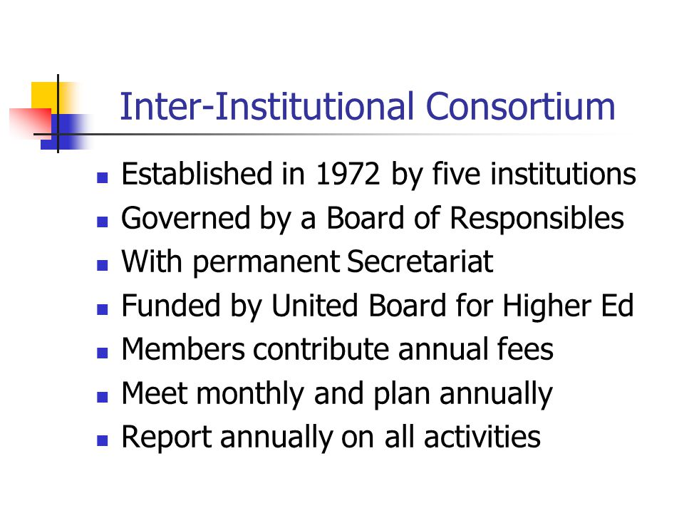 Inter-Institutional Consortium Established in 1972 by five institutions Governed by a Board of Responsibles With permanent Secretariat Funded by Unite
