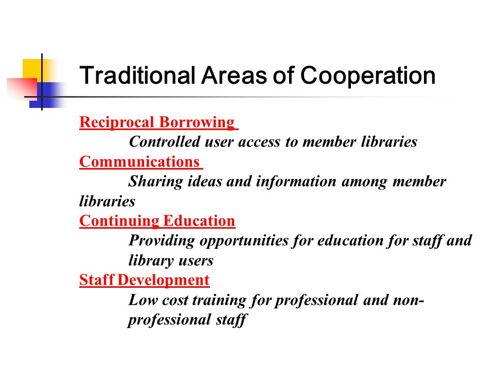Reciprocal Borrowing Controlled user access to member libraries Communications Sharing ideas and information among member libraries Continuing Educati