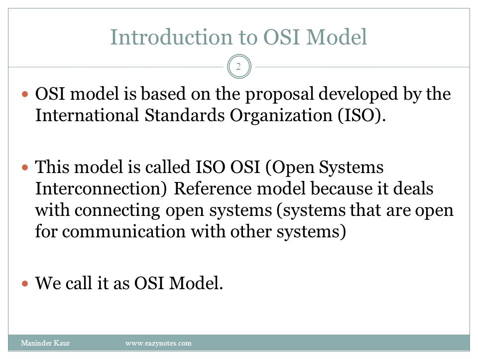 Introduction to OSI Model OSI model is based on the proposal developed by the International Standards Organization (ISO).