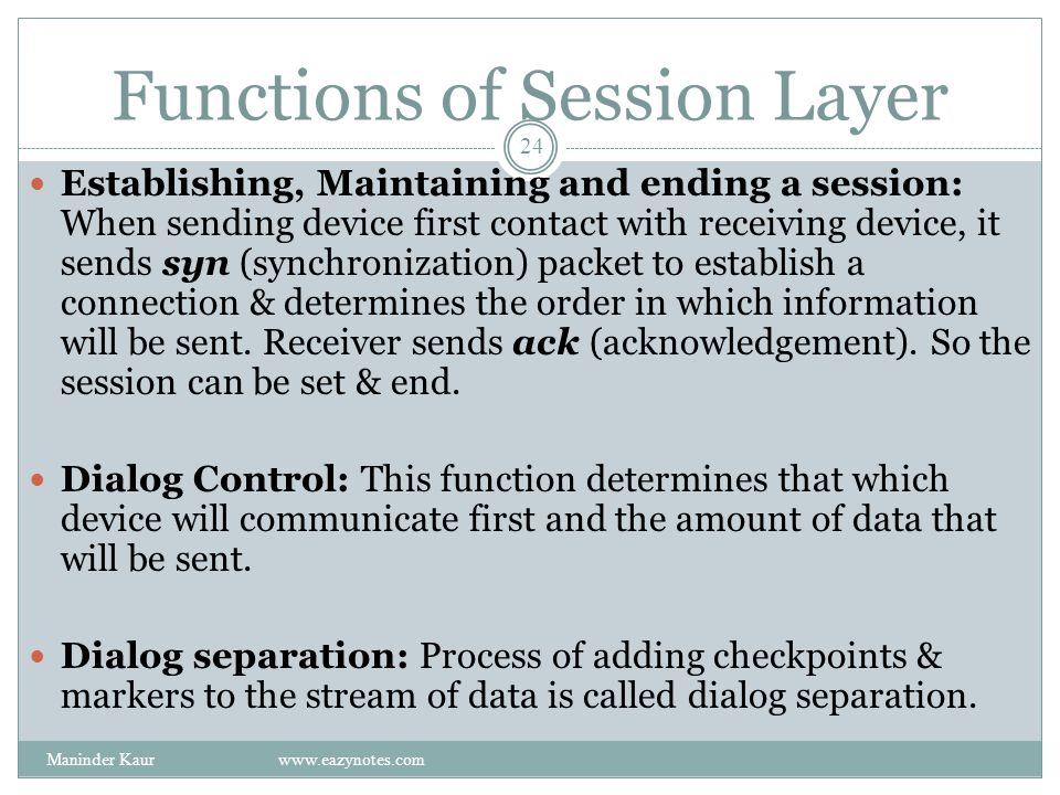 Functions of Session Layer Establishing, Maintaining and ending a session: When sending device first contact with receiving device, it sends syn (synchronization) packet to establish a connection & determines the order in which information will be sent.