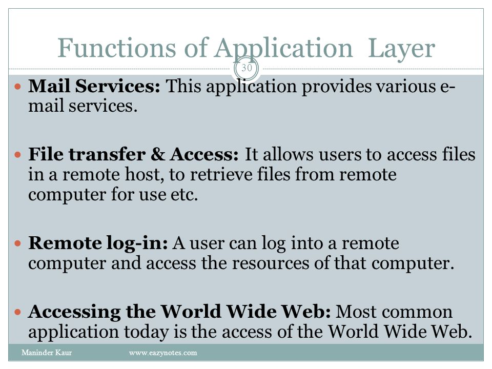 Functions of Application Layer Mail Services: This application provides various e- mail services.