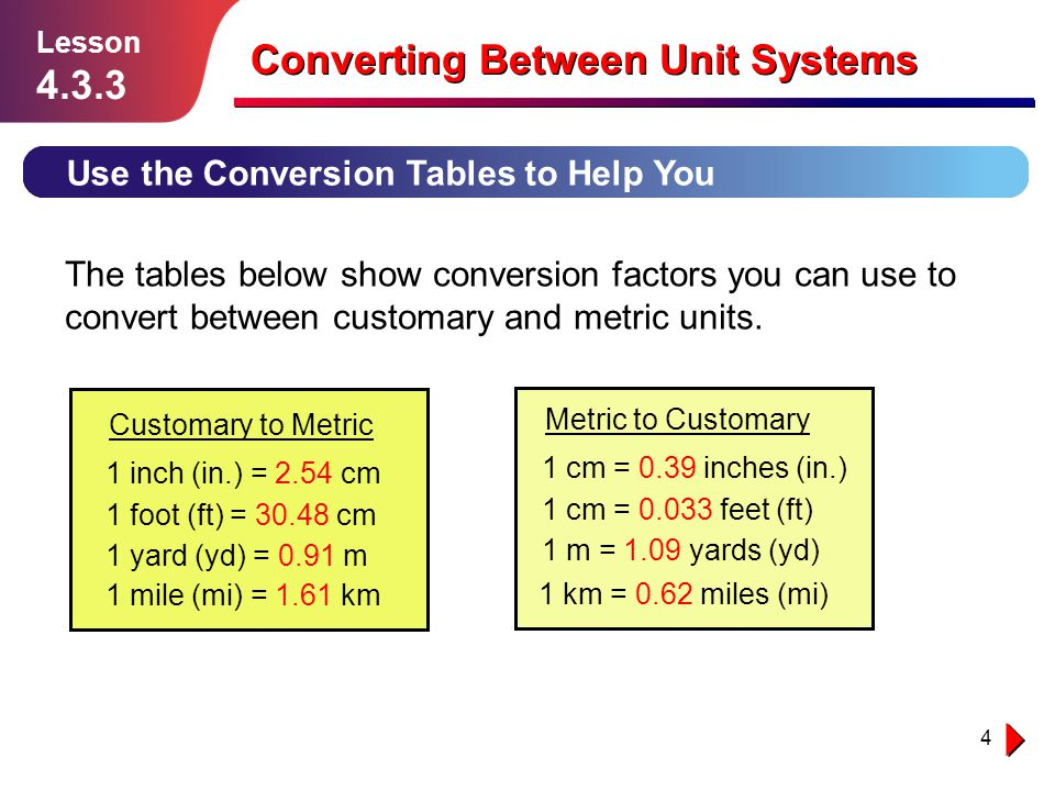 5 Lesson 4.3.3 Converting Between Unit Systems So you only really need one of the conversion tables.