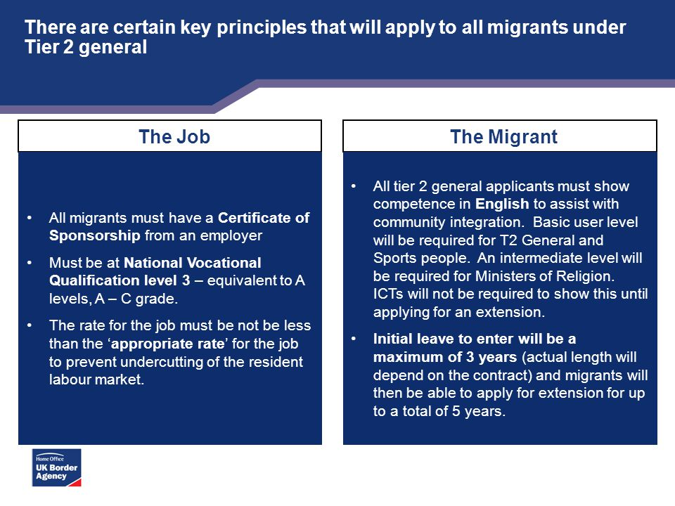 There are certain key principles that will apply to all migrants under Tier 2 general The Job All migrants must have a Certificate of Sponsorship from