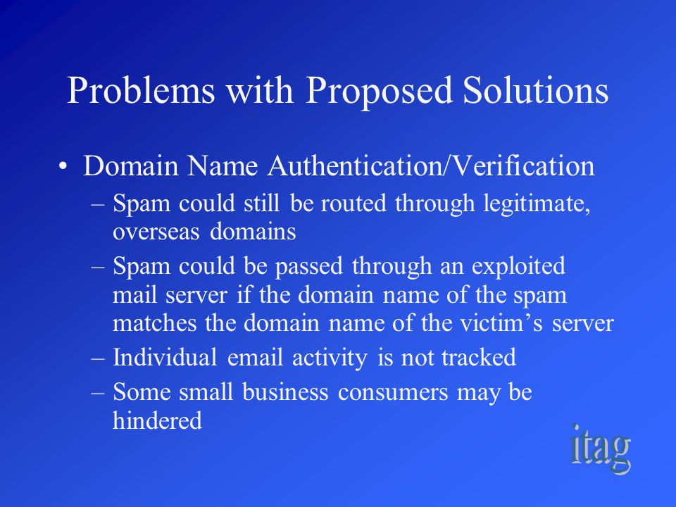 Problems with Proposed Solutions Domain Name Authentication/Verification –Spam could still be routed through legitimate, overseas domains –Spam could be passed through an exploited mail server if the domain name of the spam matches the domain name of the victim's server –Individual email activity is not tracked –Some small business consumers may be hindered
