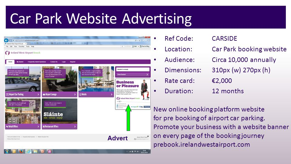 Car Park Website Advertising Advert New online booking platform website for pre booking of airport car parking.