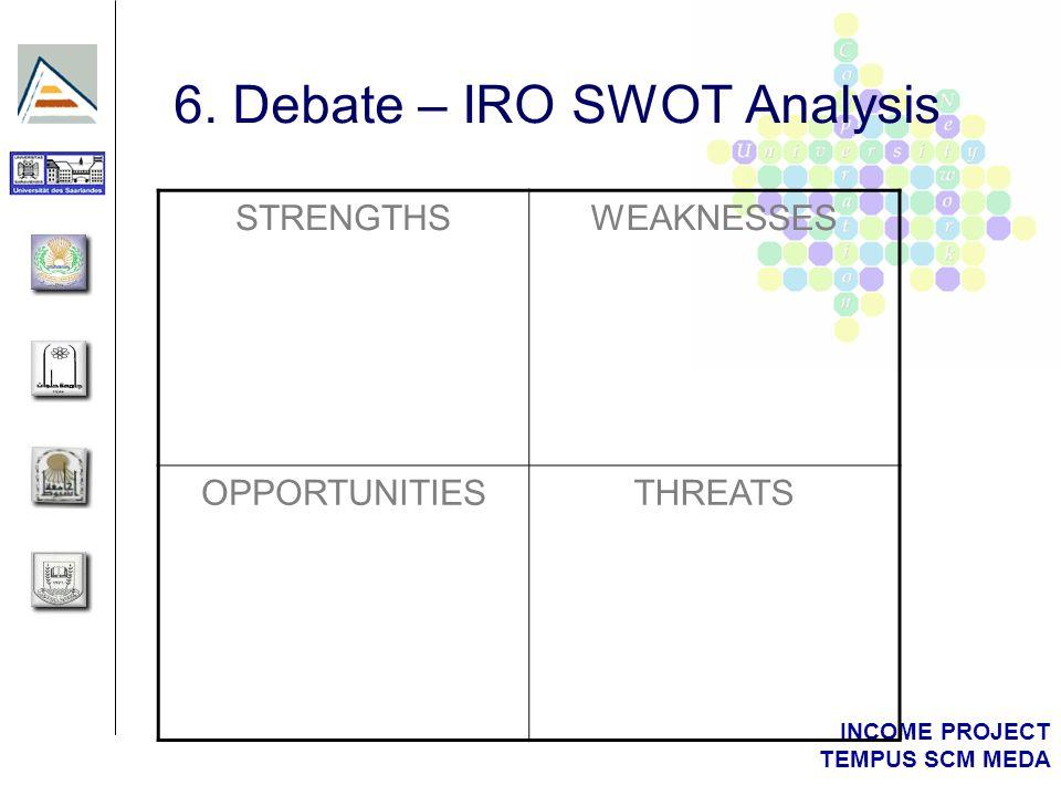INCOME PROJECT TEMPUS SCM MEDA 6. Debate – IRO SWOT Analysis STRENGTHSWEAKNESSES OPPORTUNITIESTHREATS