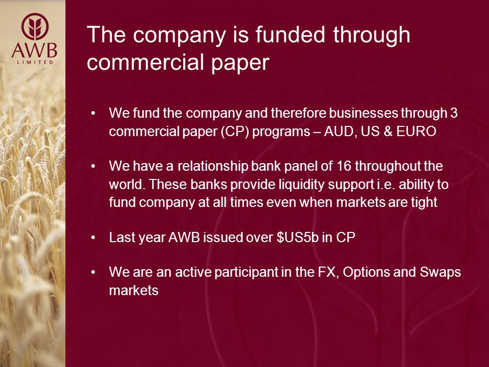 The company is funded through commercial paper We fund the company and therefore businesses through 3 commercial paper (CP) programs – AUD, US & EURO We have a relationship bank panel of 16 throughout the world.