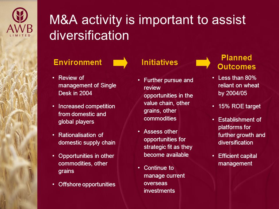 M&A activity is important to assist diversification Less than 80% reliant on wheat by 2004/05 15% ROE target Establishment of platforms for further growth and diversification Efficient capital management Further pursue and review opportunities in the value chain, other grains, other commodities Assess other opportunities for strategic fit as they become available Continue to manage current overseas investments Review of management of Single Desk in 2004 Increased competition from domestic and global players Rationalisation of domestic supply chain Opportunities in other commodities, other grains Offshore opportunities Planned Outcomes InitiativesEnvironment