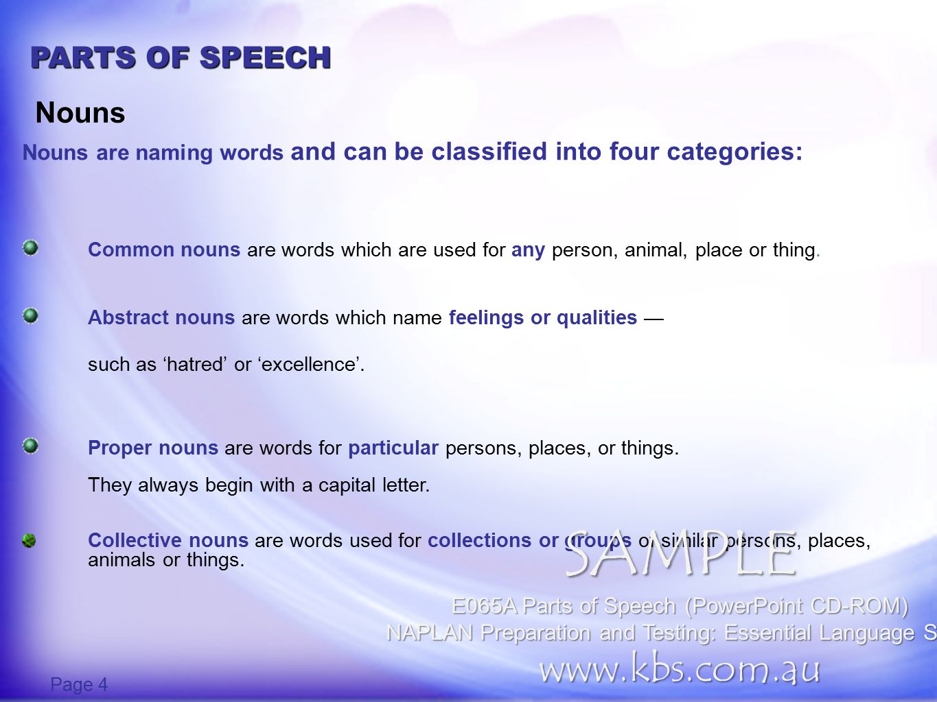 PARTS OF SPEECH Create nouns Page 5 -ary -ation -ence -ance -ion -tion -ment VERBNOUN VERBNOUN Using suffixes from the box, form nouns from the verbs below.