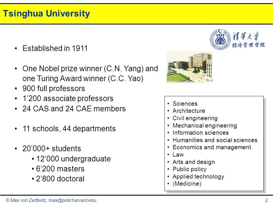 © Max von Zedtwitz, max@post.harvard.edu Tsinghua University 2 Established in 1911 One Nobel prize winner (C.N. Yang) and one Turing Award winner (C.C