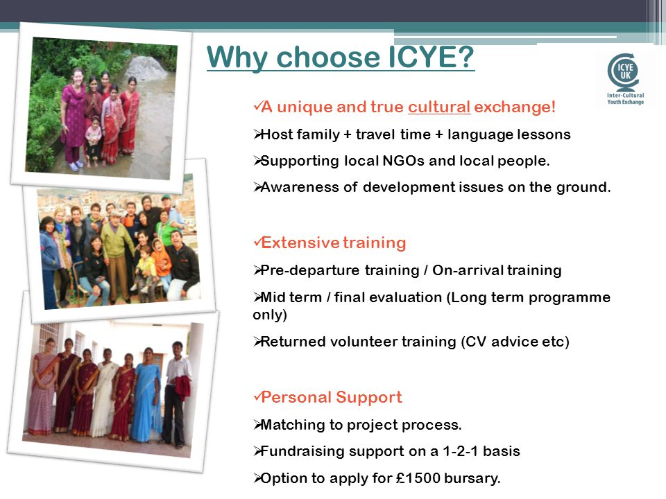Why choose ICYE. A unique and true cultural exchange.