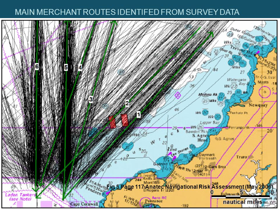 MAIN MERCHANT ROUTES IDENTIFED FROM SURVEY DATA Fig 5 Page 117 Anatec Navigational Risk Assessment (May 2006)