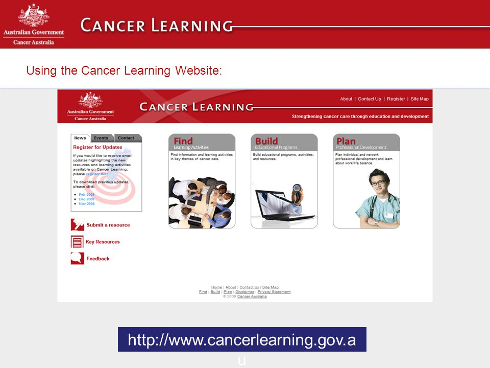 Using the Cancer Learning Website: To visit Cancer Learning please go to www.cancerlearning.gov.au http://www.cancerlearning.gov.a u