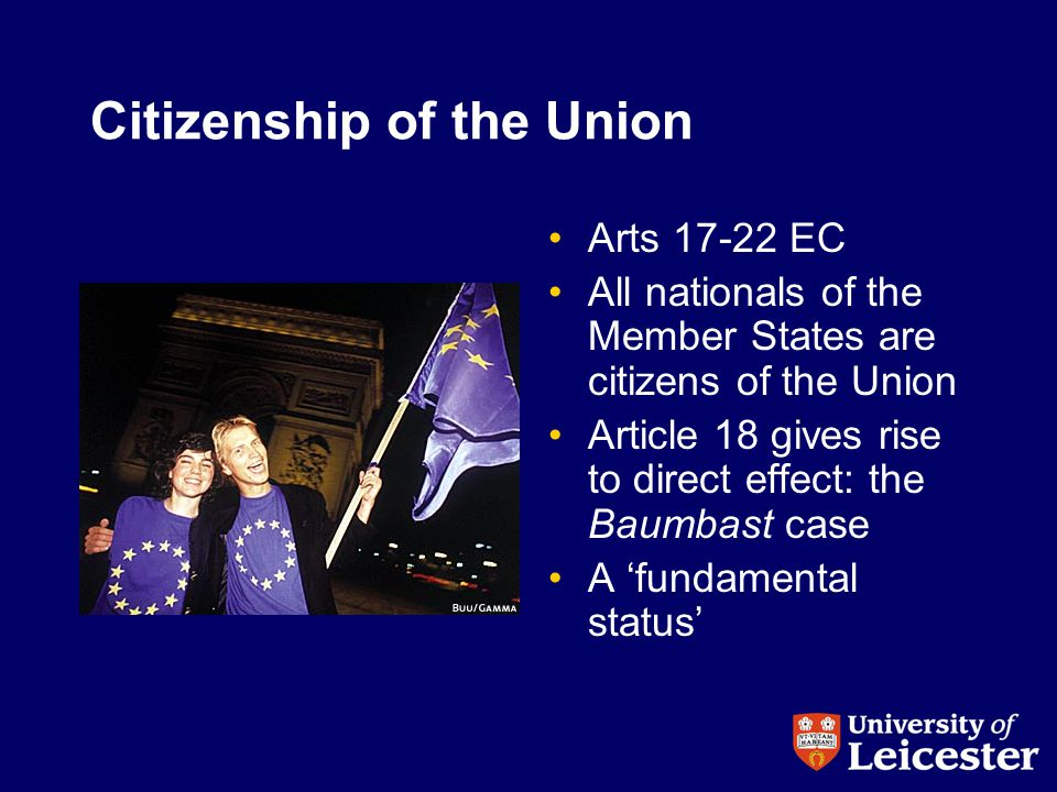 Citizenship of the Union Arts 17-22 EC All nationals of the Member States are citizens of the Union Article 18 gives rise to direct effect: the Baumbast case A 'fundamental status'
