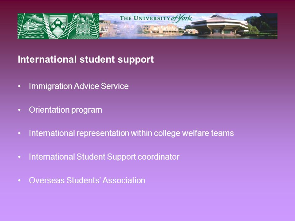 International student support Immigration Advice Service Orientation program International representation within college welfare teams International Student Support coordinator Overseas Students' Association