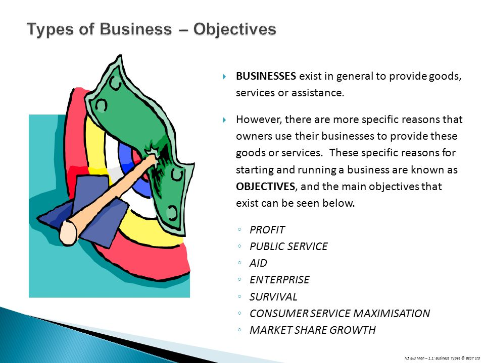 N5 Bus Man – 1.1: Business Types © BEST Ltd  BUSINESSES exist in general to provide goods, services or assistance.