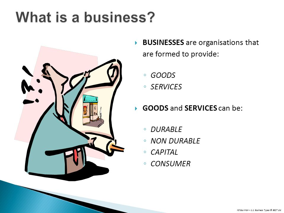 N5 Bus Man – 1.1: Business Types © BEST Ltd  BUSINESSES are organisations that are formed to provide: ◦ GOODS ◦ SERVICES  GOODS and SERVICES can be: ◦ DURABLE ◦ NON DURABLE ◦ CAPITAL ◦ CONSUMER
