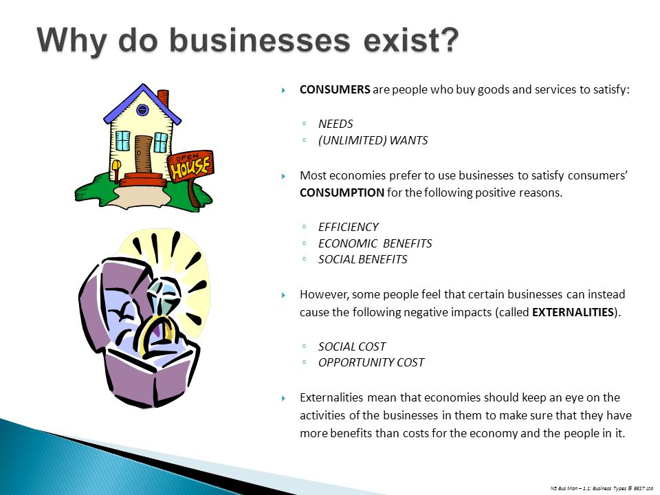 N5 Bus Man – 1.1: Business Types © BEST Ltd Why do businesses exist.