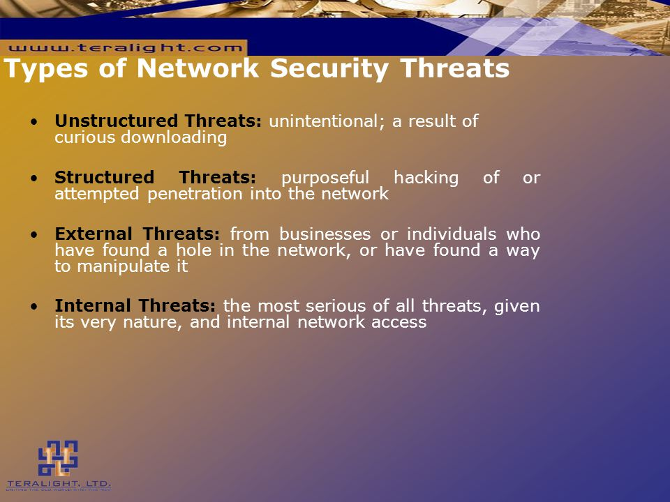 Types of Network Security Threats Unstructured Threats: unintentional; a result of curious downloading Structured Threats: purposeful hacking of or attempted penetration into the network External Threats: from businesses or individuals who have found a hole in the network, or have found a way to manipulate it Internal Threats: the most serious of all threats, given its very nature, and internal network access
