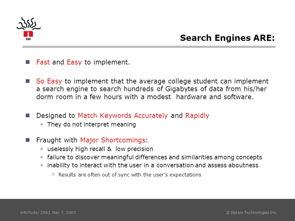 InfoToday 2003, May 7, 2003 © Nstein Technologies Inc. Search Engines ARE: nFast and Easy to implement. nSo Easy to implement that the average college