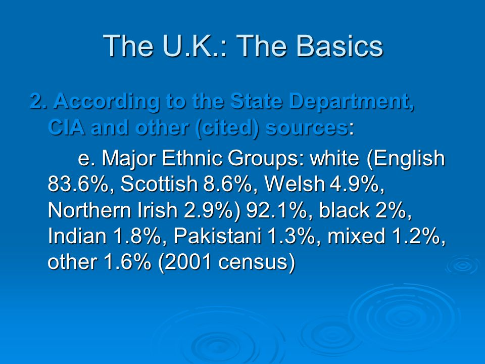 The U.K.: The Basics 2. According to the State Department, CIA and other (cited) sources: e.
