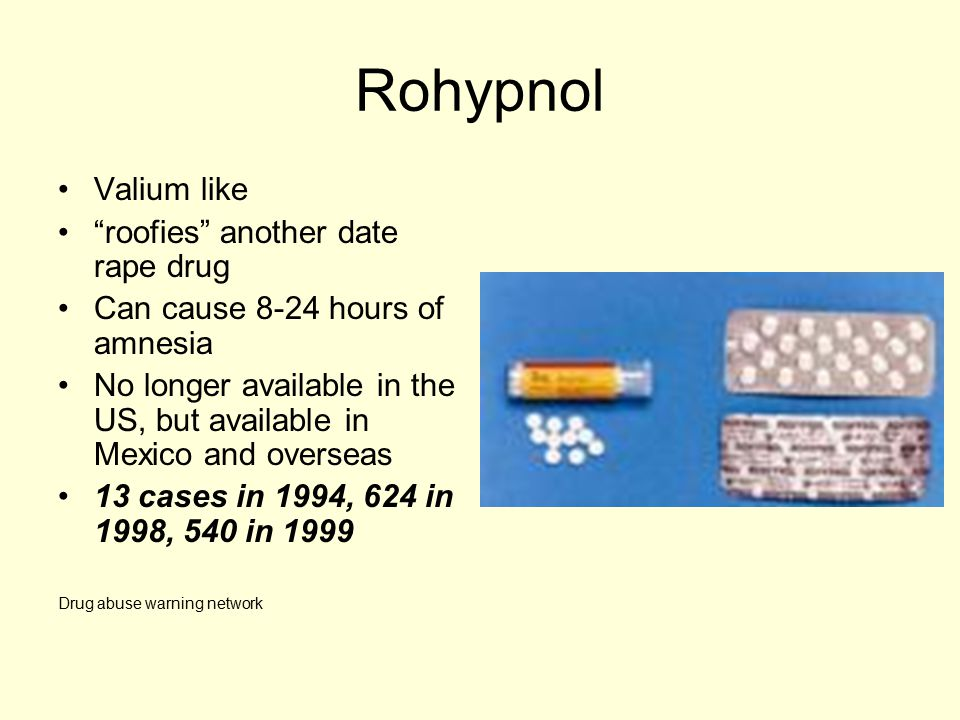"Rohypnol Valium like ""roofies"" another date rape drug Can cause 8-24 hours of amnesia No longer available in the US, but available in Mexico and overs"