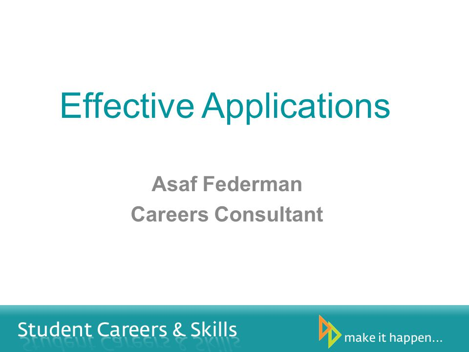 Effective Applications Asaf Federman Careers Consultant