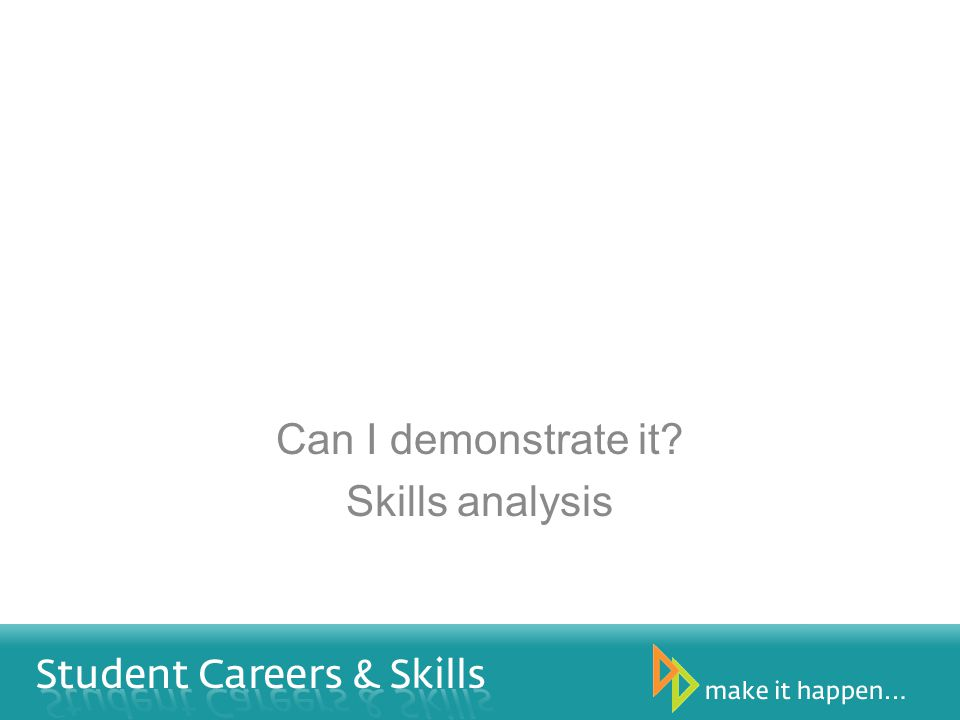Can I demonstrate it? Skills analysis