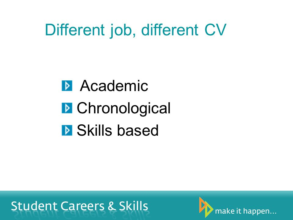 Different job, different CV Academic Chronological Skills based