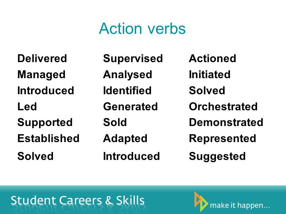 Action verbs DeliveredSupervisedActioned ManagedAnalysedInitiated IntroducedIdentifiedSolved LedGeneratedOrchestrated SupportedSoldDemonstrated Establ