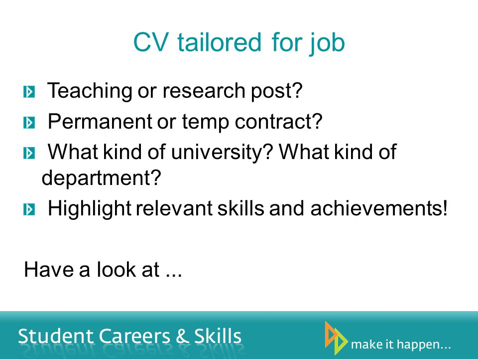 CV tailored for job Teaching or research post.Permanent or temp contract.
