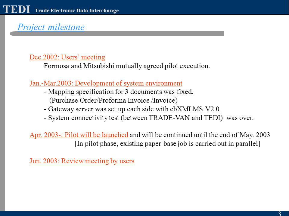 3 Trade Electronic Data Interchange TEDI Dec.2002: Users' meeting Formosa and Mitsubishi mutually agreed pilot execution. Jan.-Mar.2003: Development o