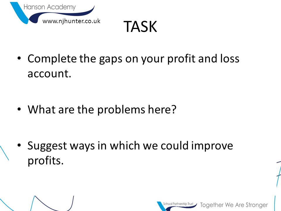www.njhunter.co.uk TASK Complete the gaps on your profit and loss account.