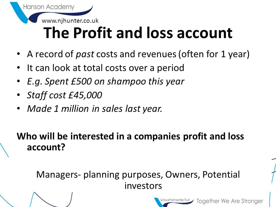 We looked at this spreadsheet in year 9 And calculated profits and loss for 'Hair by Hunter'