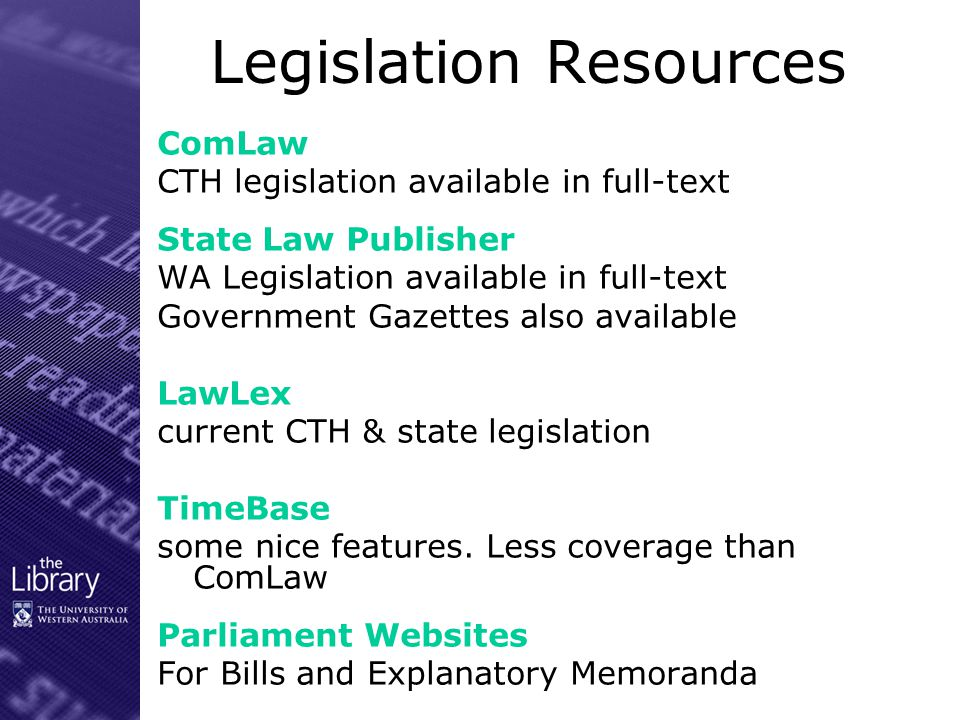 International Resources Westlaw Case law, journals, legislation for US, UK etc Lexis.com Case law, journals, legislation for US, UK, Canada, South Africa, NZ etc English Reports (Justis)English Reports Full text English Reports (1220 – 1873) – also in print – 2 nd floor United Nations Treaty CollectionUnited Nations Treaty Collection
