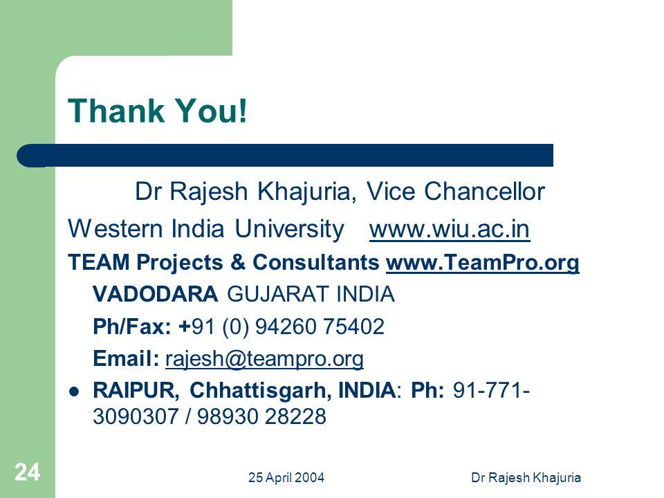 25 April 2004Dr Rajesh Khajuria 24 Thank You.